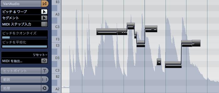 スタイダーを右に動かして行くと音程が平坦に