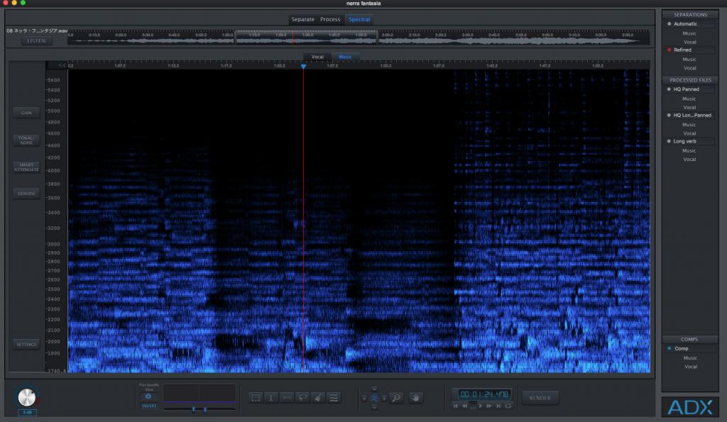 音響成分を可視化するメーター